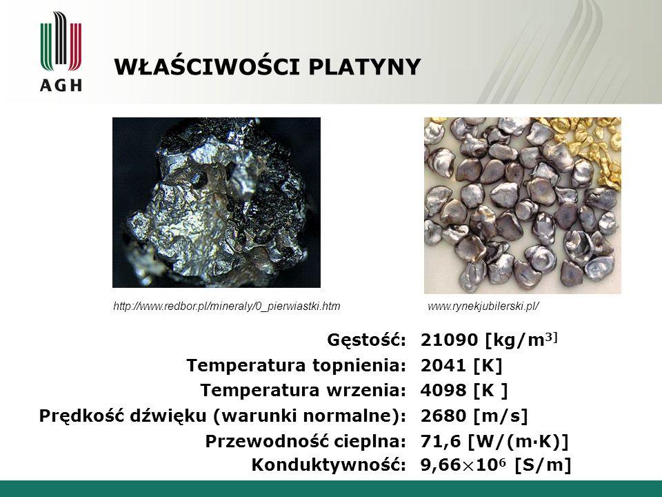 Właściwości platyny Gęstość: 21090 [kg/m3]